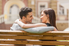 Loving couple on the bench. Stock Photo