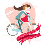 Loving  couple on the bicycle. Valentine's day greeting card. Stock Photo