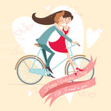 Loving  couple on the bicycle. Valentine's day greeting card. Stock Photography
