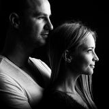 Loving couple, black and white profile picture.  Stock Photography