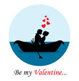 Loving couple in a boat Royalty Free Stock Images