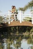 Loving Couple On Bridge Royalty Free Stock Photography