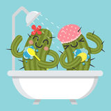 Loving couple of cactus in bathtub Stock Images