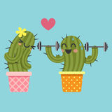 Loving couple of cactus with dumbbell Royalty Free Stock Photos