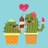 Loving couple of cactus with ice cream Stock Photo