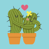 Loving couple of cactus Stock Image