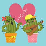 Loving couple of cactus singing and playing guitar Royalty Free Stock Image