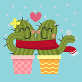 Loving couple of cactus in the snow Royalty Free Stock Photography