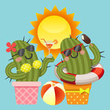 Loving couple of cactus with summer theme Stock Photos
