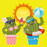 Loving couple of cactus with summer theme Stock Images