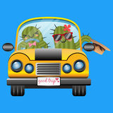 Loving couple of cactus in yellow car Royalty Free Stock Image
