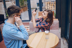 Loving couple in a cafe Royalty Free Stock Photography