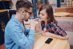 Loving couple in a cafe Royalty Free Stock Photo
