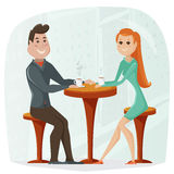 Loving couple in a cafe. Vector cartoon illustration. In retro style Stock Images