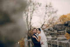 Loving couple in the castle Royalty Free Stock Image