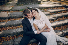 Loving couple in the castle Royalty Free Stock Images