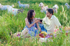 Loving couple celebrating with red wine. Stock Image