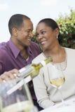 Loving Couple Celebrating With Wine Stock Photo