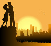 Loving couple and city Royalty Free Stock Images