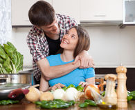 Loving couple cooking Royalty Free Stock Photography