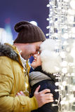 Loving couple cuddling on street Stock Photography