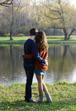 Loving couple on date autumn outdoor. Royalty Free Stock Image