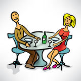 Loving couple on a date in cafe Royalty Free Stock Photo