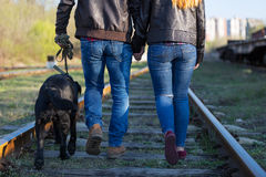 Loving couple with a dog in railway track. The view from the back Stock Photos