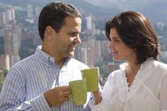 Loving couple drinking cafe Royalty Free Stock Image