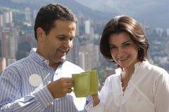 Loving couple drinking cafe Stock Image