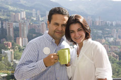 Loving couple drinking cafe Royalty Free Stock Photo