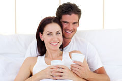Loving couple drinking coffee Royalty Free Stock Photos