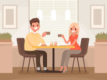 Loving couple is drinking coffee in a cafe. A man and a woman ar. E sitting at a table in a cozy restaurant. Vector illustration in a flat style Stock Images