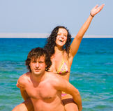 Loving couple embracing on beach Royalty Free Stock Photo