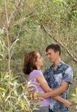 Loving couple is embracing outdoors Stock Photo