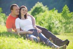 Loving couple embracing at picnic Royalty Free Stock Photos