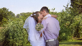 Loving couple embracing. On a riverside Royalty Free Stock Photo