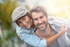 Loving couple embracing in the streets Royalty Free Stock Photography