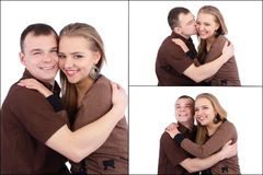 Loving couple embracing on white background Stock Photography