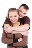 Loving couple embracing on white background Royalty Free Stock Images