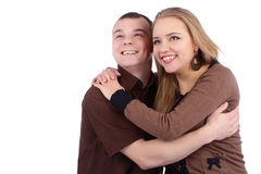Loving couple embracing on white background Stock Photo