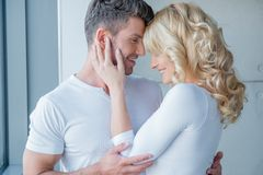 Loving couple enjoy a tender moment Royalty Free Stock Images