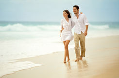 Loving couple enjoying seascape stock photo