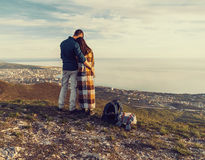 Loving couple enjoying view of sea Royalty Free Stock Photo
