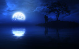 Loving Couple On Epic Fantasy Night. Epic fairytale type fantasy night with full moon over a lake with a romantic couple on a small island with tree with fine Stock Photography