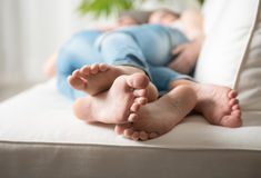 Loving couple feet Royalty Free Stock Photos