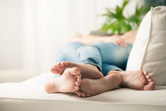 Loving couple feet Stock Photos