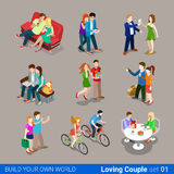 Loving couple flat 3d isometric web infographic co Stock Photo