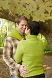 Loving couple in forest Royalty Free Stock Image