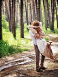 Loving couple in the forest Royalty Free Stock Images